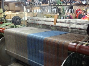 Scarves being woven in Shetland wool