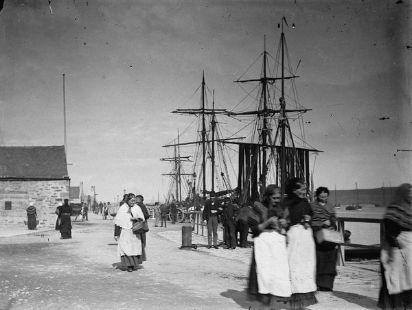 image from Shetland Museum and Archives. Photographer J Leisk. Albert Wharf, Lerwick, C 1880