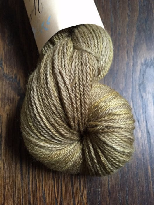 Opulence base: Organic Falkland Merino and silk. Colour: Old Gold