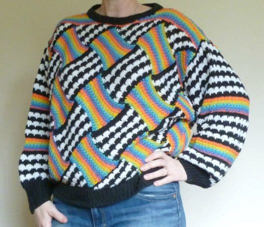 Entrelac Jumper designed by Chrsitan de Falbe, knit by Christine in the 80s.