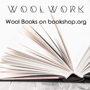 image of an open book with the words Woolwork wool books on bookshop.org