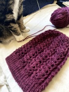 Castiel Hat shown laying flat. Jeremy the cat is standing next to the hat, on the yarn!